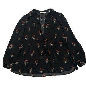 A.L.C. Long Sleeve Floral Silk Top Black 6 ALC